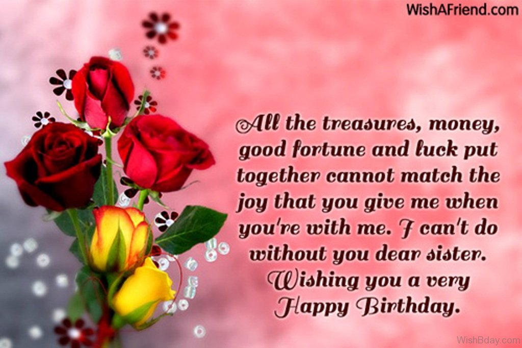 36 birthday wishes for sister all the treasure money m4hsunfo