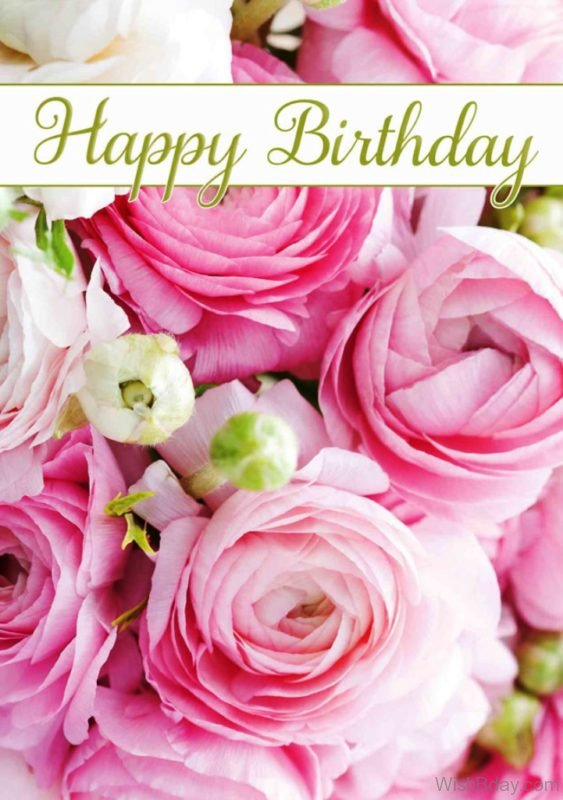 Happy Birthday Image With Pink Flowers