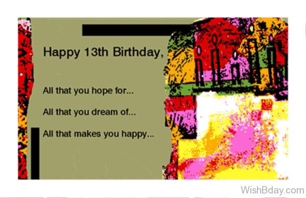 Happy Birthday Thirteen Year Old