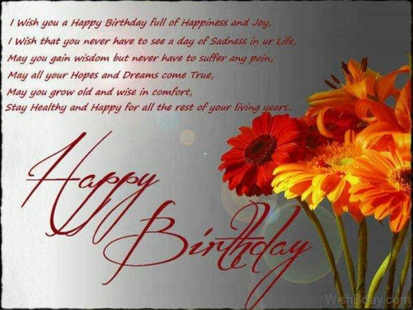 I Wish You A Happy Birthday Full Of Happiness And Joy