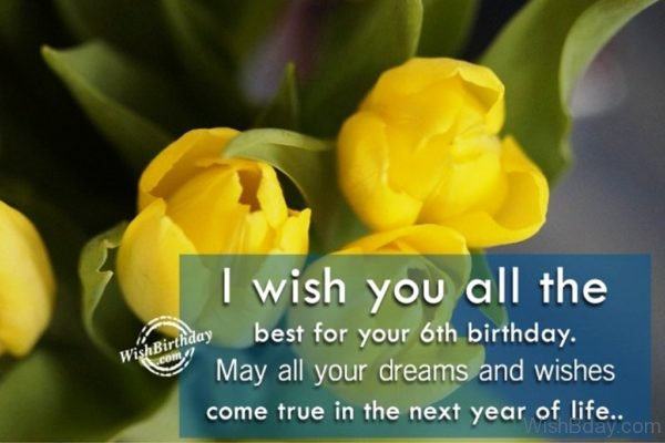 I Wish You All The Best For Your Sixth Birthday