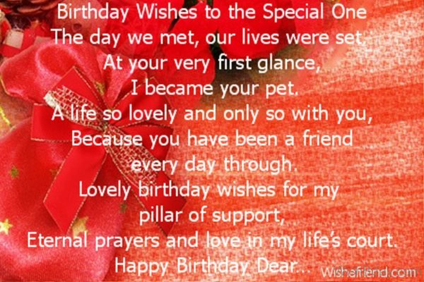 Lovely Birthday Wishes For My Pillar Of Support