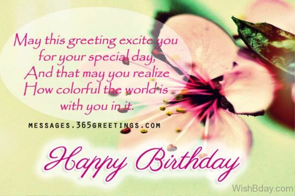 May This Greeting Excite You For Your Special Day
