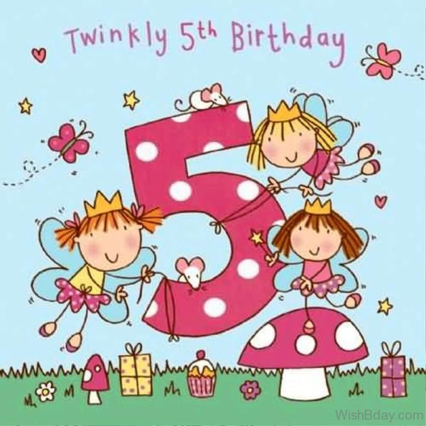 Twinkling Fifth Happy Birthday Wishes