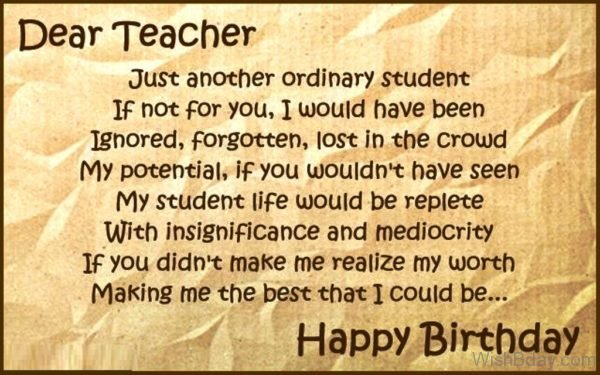 Dear Teacher Happy Birthday
