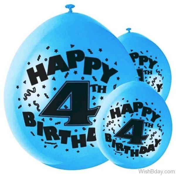Fourth Birthday Wishes Balloon