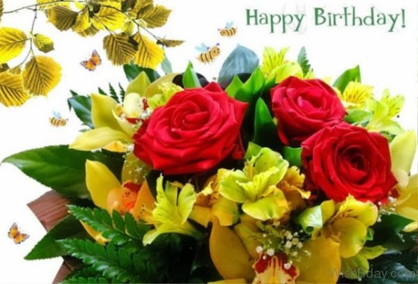 Happy Birthda With Beautiful Flowers