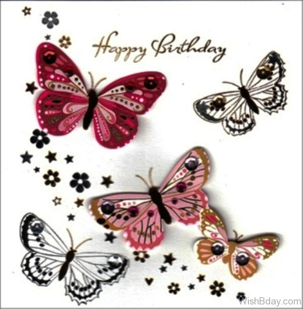 Happy Birthday With Butterflies Image 1