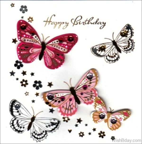 Happy Birthday With Butterflies Image
