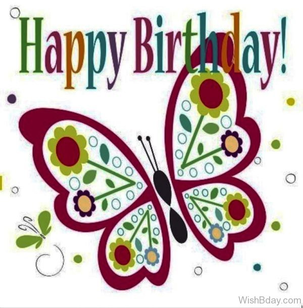 Happy Birthday With Butterfly Image 1