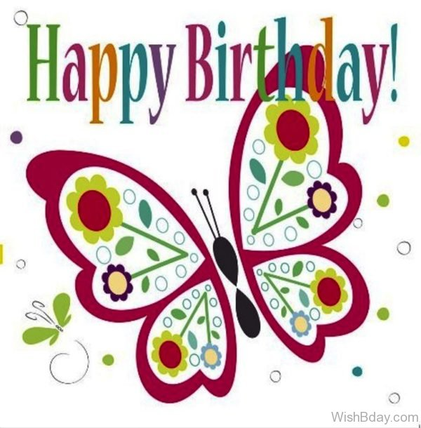 Happy Birthday With Butterfly Image