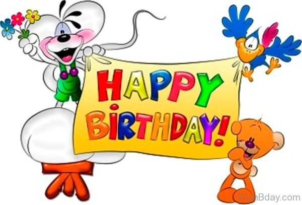 Happy Birthday With Cartoon Image