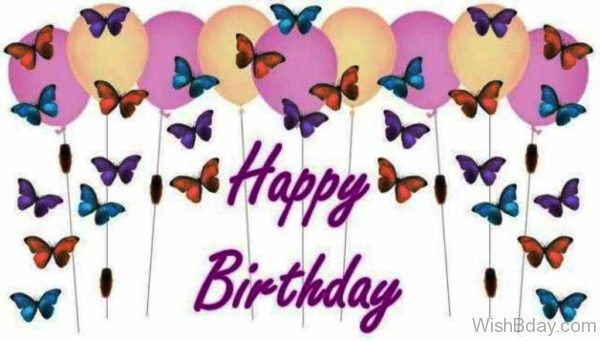 Happy Birthday With Colorful Butterflies