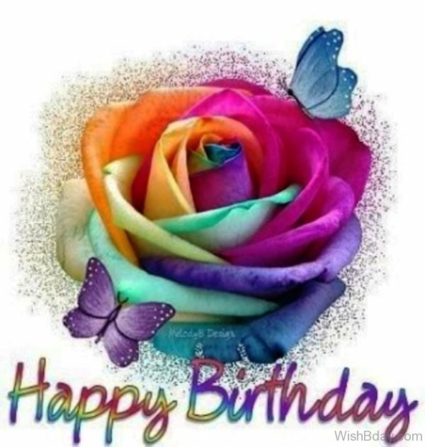 Happy Birthday With Colorful Rose