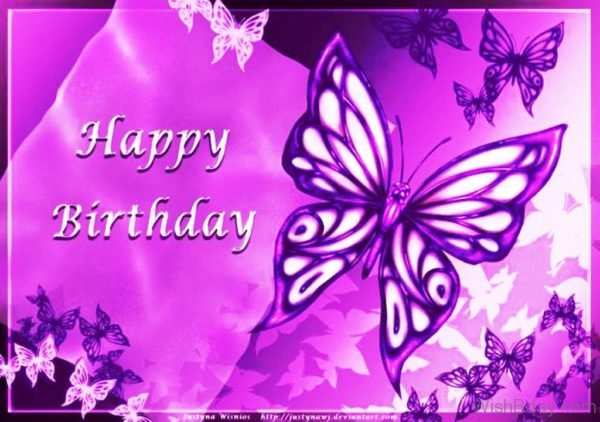Happy Birthday With Purple Butterflies 1