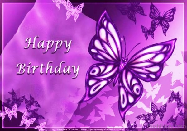Happy Birthday With Purple Butterflies