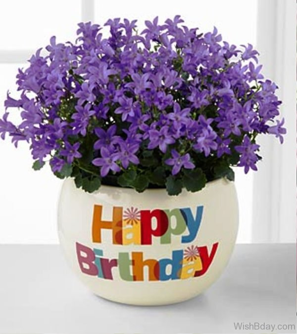 Happy Birthday With Purple Flowers