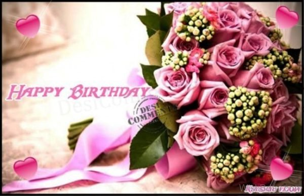 Happy Birthday with Pink Flowers Image