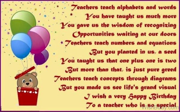 I Wish A Very Happy Birthday To A Teacher